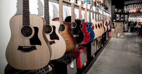 Rack of guitars in a shop